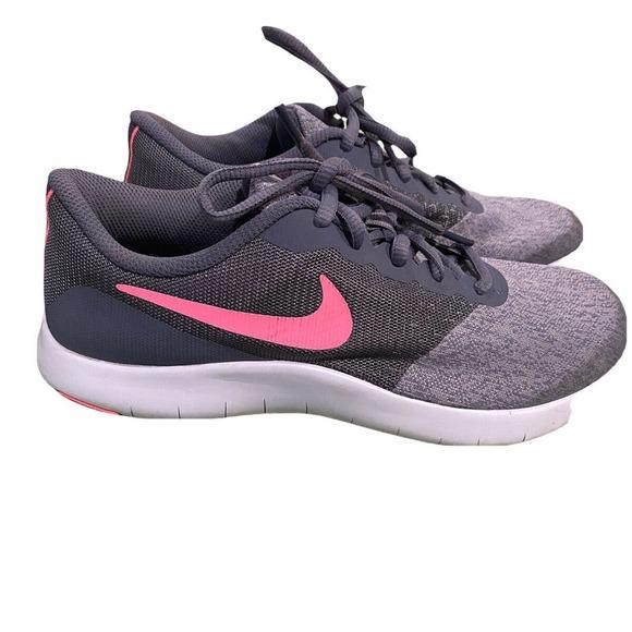 NIKE FLEX CONTACT GIRLS RUNNING SHOES Gray Pink size 5.5